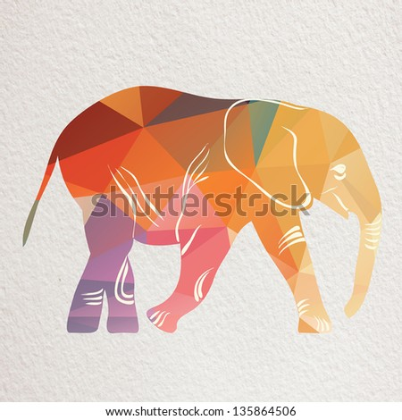 Vintage pattern with elephant . Paper textured background. - stock photo