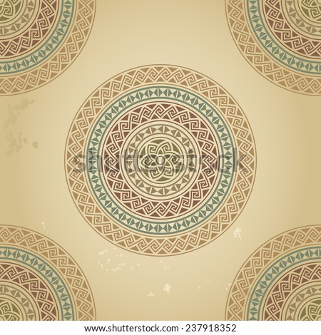 Vintage pattern with ethnic ornament on grunge background. Most popular round frames in colorful combination. Raster copy - stock photo