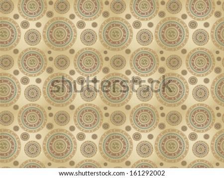 Vintage pattern with ethnic ornament on grunge background. raster illustration  - stock photo