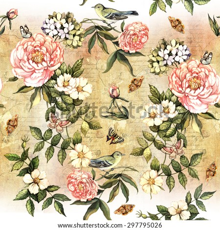 Vintage  pattern with flowers, lace and birds. Hand painting. Watercolor. Seamless pattern for fabric, paper and other printing and web projects. - stock photo