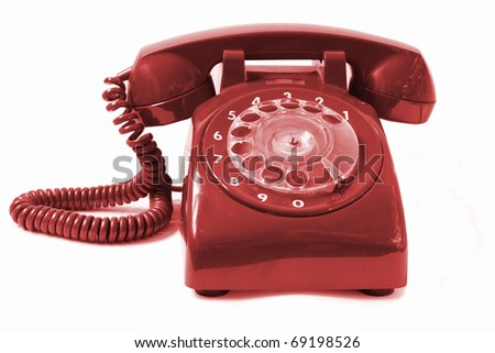 Vintage  phone isolated on a white background. - stock photo