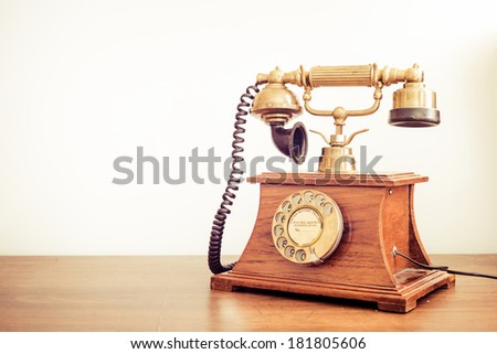 Vintage phone with copy space - stock photo