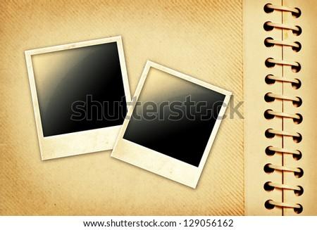 Vintage photo album with polaroid - stock photo