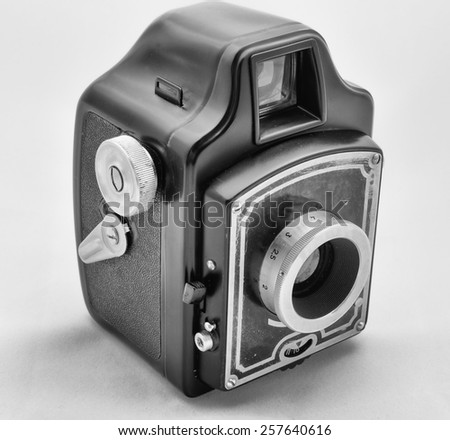 Vintage photo box camera, monochrome - stock photo
