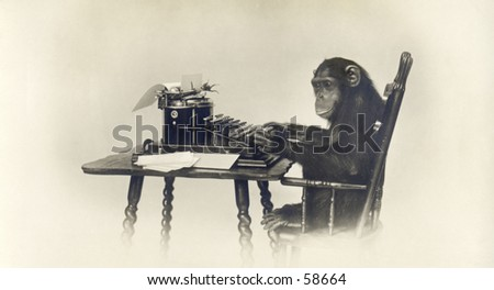 Vintage photo, circa 1900 of a chimp typ - stock photo