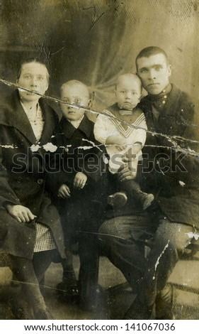 Vintage photo family portrait from the 19th century - stock photo