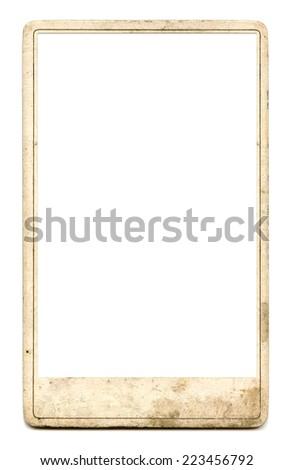 vintage photo frame on white background - stock photo