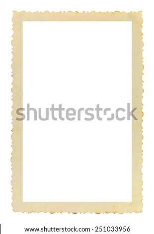 Vintage photo frame with figured edges, on white background  - stock photo