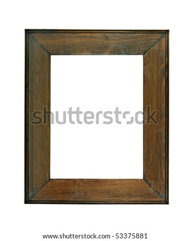 vintage photo frame, wood frame - stock photo
