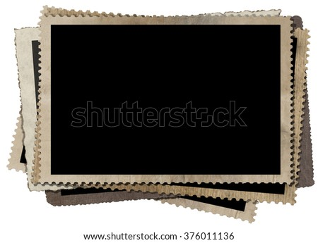 Vintage Photo Frames Isolated on White / A stack of old vintage photo frames isolated on white background - stock photo