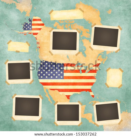 vintage po frames on the background with the vintage map of united states on the