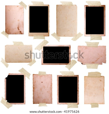 Vintage photo frames set 7, big collection - stock photo