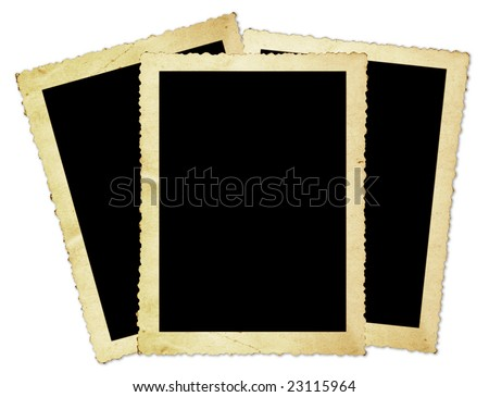 Vintage photo frames, with scalloped edges, isolated on white. - stock photo