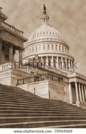 Vintage photo imitation of Washington DC architectural details - stock photo