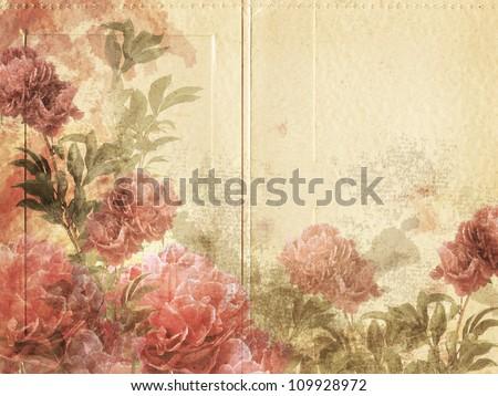 Vintage Photo Mount/Flower Card - stock photo