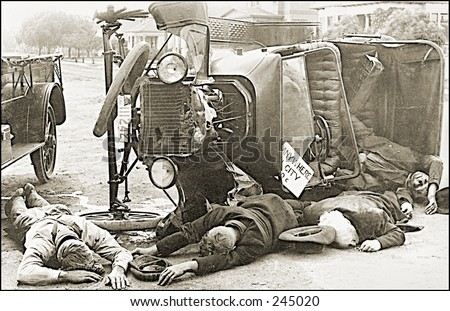 Vintage Photo of a Car Crash With Casualties