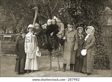 Vintage photo of a Family Portrait With Ostrich - stock photo