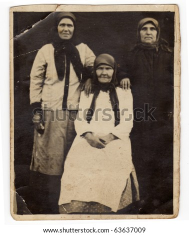 Vintage photo of a family (Russia, beginning of 20th century) - stock photo