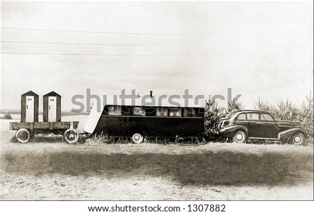 Vintage photo of a Family Vacation  Before RVs - stock photo