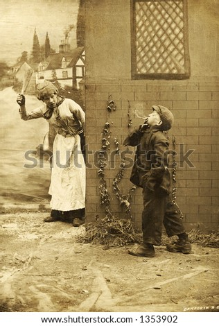 Vintage photo of a Mother Catching her Son Smoking - stock photo