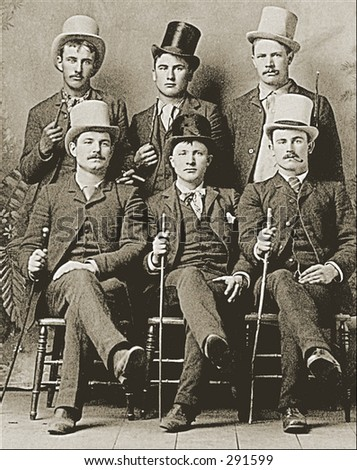 Vintage photo of a Six Guys In Top Hats With Canes - stock photo