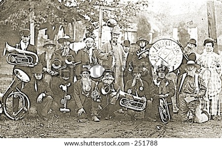 Vintage Photo of a Village Band - stock photo