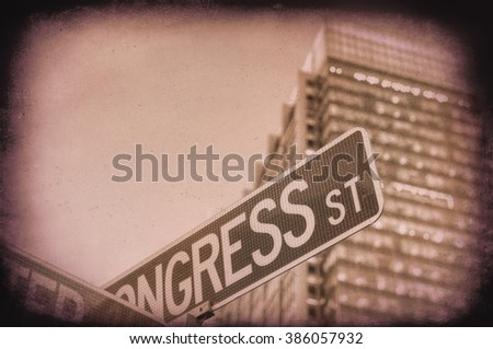 Vintage photo of american street signs.