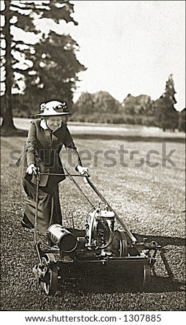 Vintage photo of an Old Lady Pushing Lawnmower In Unlikely Attire - stock photo