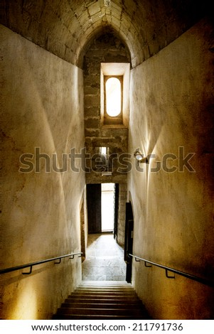 Vintage photo of ancient castle interior - stock photo