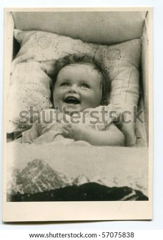 Vintage photo of baby - stock photo