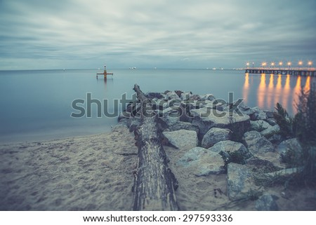 Vintage photo of Baltic sea shore seascape. Seascape Gdynia Orlo - stock photo