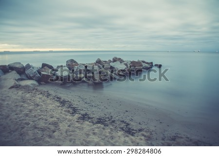 Vintage photo of Baltic sea shore seascape. Seascape Gdynia Orlowo - stock photo