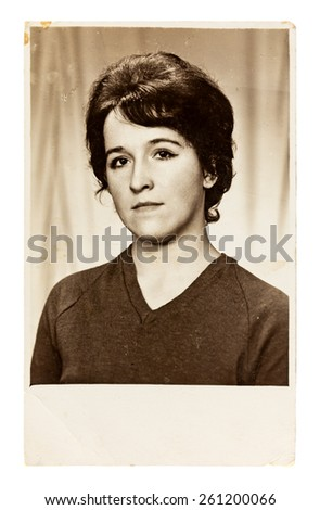 Vintage photo of beautiful young woman (circa 1960) - stock photo