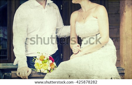 Vintage photo of bride and groom - stock photo