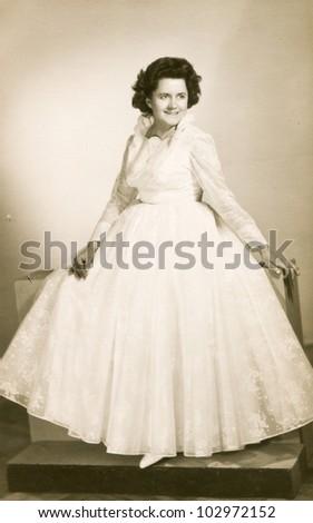 Vintage photo of bride (fifties) - stock photo