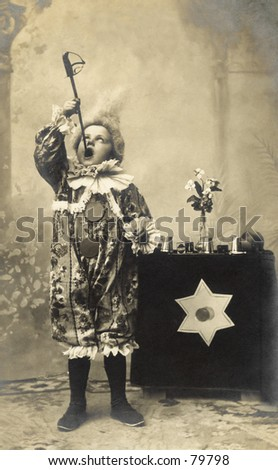 Vintage photo of child sword swallower - stock photo