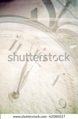 Vintage photo of clock under snow - stock photo