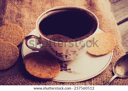 vintage photo of cup of coffee on wood table