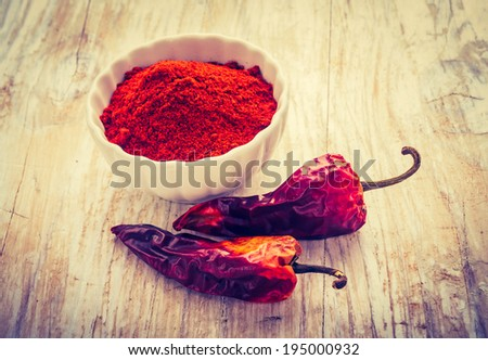 vintage photo of dry chilli pepper - stock photo