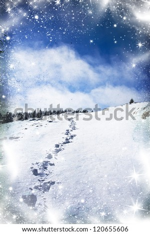 Vintage photo of footsteps in snow - stock photo