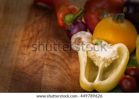 vintage photo of fresh vegetables on wooden table vegetables pepper organic food diet nutrition vegetables pepper organic food diet nutrition vegetables pepper organic food diet nutrition vegetables - stock photo