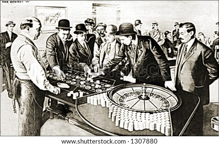 Vintage photo of Gamblers At Roulette Wheel - stock photo