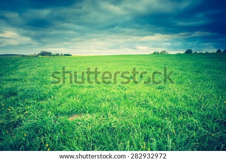 Vintage photo of green springtime meadow landscape with cloudy storm sky. Beautiful grassland landscape under dark sky - stock photo