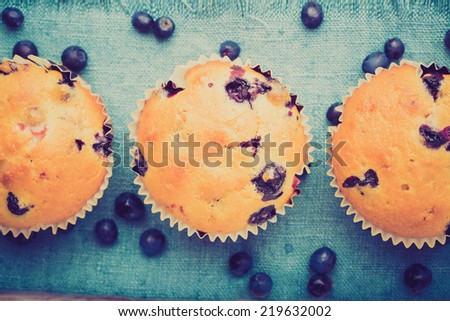 vintage photo of Homemade blueberry muffins