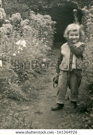 Vintage photo of little girl, fifties