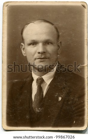 Vintage photo of man (forties) - stock photo