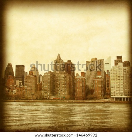 Vintage photo of Manhattan skyline. - stock photo