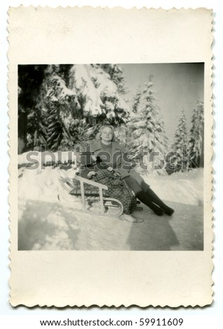 Vintage photo of mother and daughter - stock photo