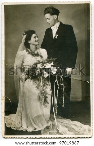 Vintage photo of newlyweds (forties) - stock photo
