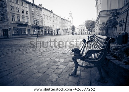 Vintage photo of old European street - stock photo